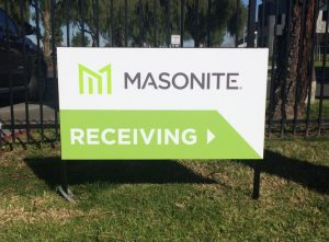 Custom branded wayfinding post and panel sign